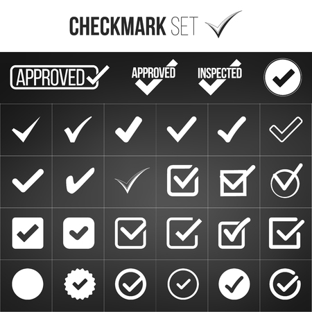 Checkmark or tick mark collection set. Acceptance, approval, right choice, correct selection, true option, positive answer, saying yes, , confirmation concept. Vector illustration isolated Illustration