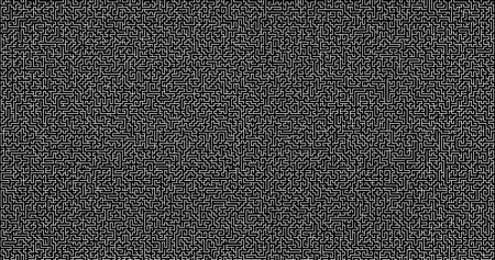 Weißes Labyrinth auf schwarzem Hintergrund. Labyrinth-Spiel-Konzept. Logistik-abstraktes Hintergrundkonzept. Geschäftspfad-Konzept.