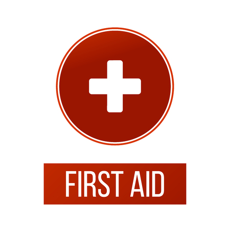 First aid medical sign in circle, flat vector icon for apps, website, labels, signs, stickers. Vector illustration isolated on white background 写真素材 - 127645157