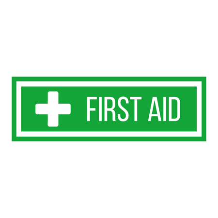 Green First Aid sign in square. flat vector icon for apps, website, labels, signs, stickers. Vector illustration isolated on white background