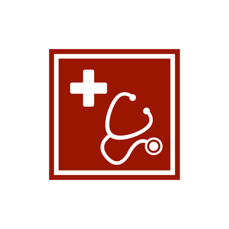 Stethoscope and silhouette of a cross in the red square. First aid medical sign flat vector icon for apps, website, labels, signs, stickers. Vector illustration isolated on white background Ilustrace