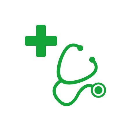 Stethoscope and silhouette of a cross. First aid medical sign, flat vector icon for apps, website, labels, signs, stickers. Vector illustration isolated on white background 写真素材 - 127645162