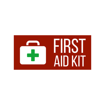 First aid kit label or sign. Medical box with cross. Medical equipment for emergency. Healthcare concept. Vector illustration isolated on white background