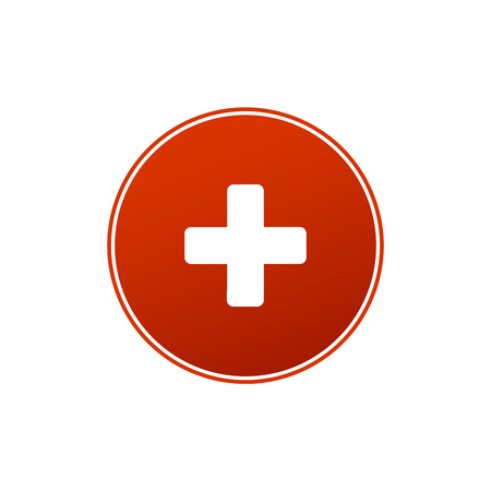 First aid medical sign in circle, flat vector icon for apps, website, labels, signs, stickers. Vector illustration isolated on white background 写真素材 - 127645168