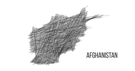Drawing map of Afghanistan made out of lines. sketch illustration. Vector illustration isolated on white .