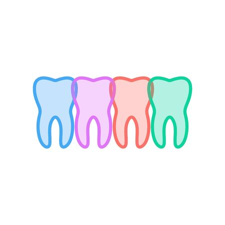 A Set of four teeth varying in color. Vector illustration isolated on white background. Illustration