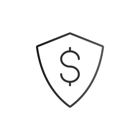 Dollar Money Currency Sign Shield Icon. Vector illustration isolated on white .