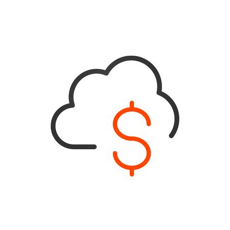 Cloud money line icon. Dollar symbol, coin, cost Finance concept Çizim