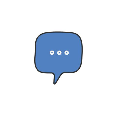 Typing in a chat bubble icon. Hand drawn vector illustration isolated