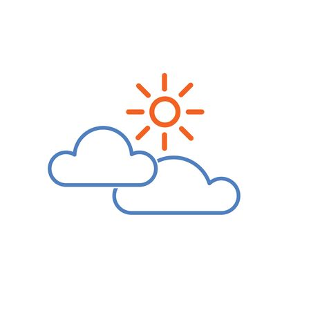 Sun and cloud weather icon isolated on white background. Vector