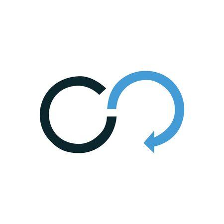 Blue Infinity arrow   Template Illustration Design. Vector illustration isolated  イラスト・ベクター素材