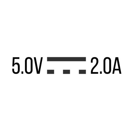 Direct Current DC Symbol Sign for 5V and 2A, Vector Illustration, Isolate On White Ilustração