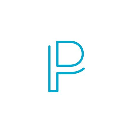 Linear geometric outline alphabet Letter P, Simple Logo Design, Blue graphic element for typography style, minimalistic letter design. Editable stroke. Stock vector illustration isolated on white background.
