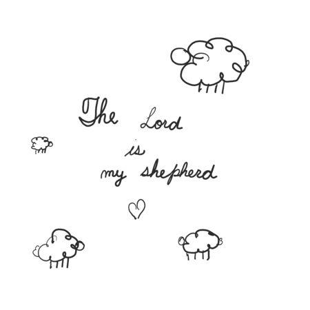 ovejas en el campo. Hand lettering Salmo 23 El Señor es mi pastor. Trasfondo bíblico. Ilustración de vector