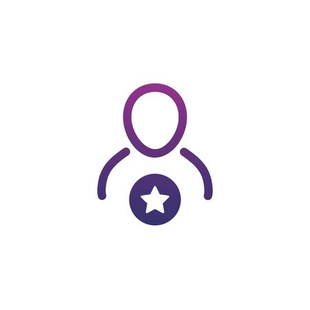 User Icon with star, favorite icon, like user. Stock Vector illustration isolated