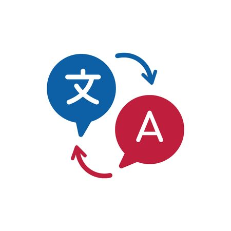Two blue and red chat speech bubbles, language translation icon, chinese to english. International Forum icon. Communication concept. Stock vector illustration Illusztráció