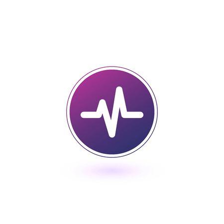 Heart beat, cardiogram, life line circle icon. Stock vector illustration isolated Illusztráció
