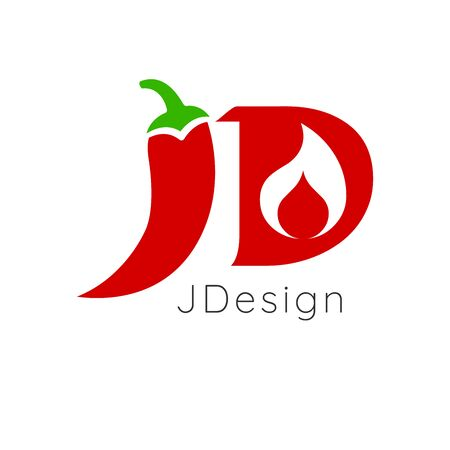 JD letters for hot chili pepper logo design with fire. Stock Vector illustration isolated