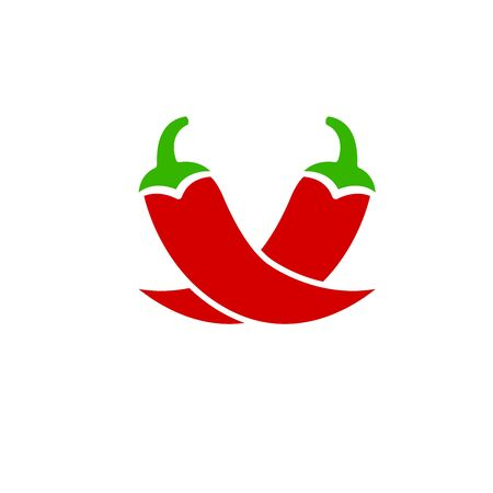 An illustration of two fresh red chilli peppers. Stock Vector illustration isolated