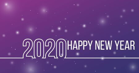 New Year 2020 line design line style for new year card, calendar style for New Year card, calendar. 2020 linear style isolated Illusztráció