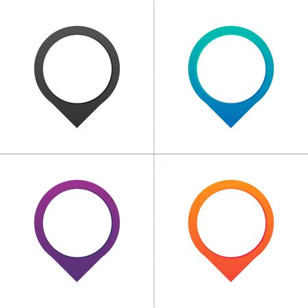 map pin icon set in different colors with blank place for your text or icon. location concept. Stock Vector illustration isolated Illusztráció