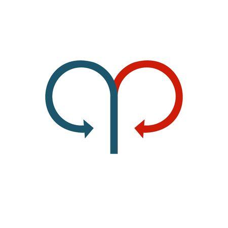 Two connected circle opposite arrows. Stock Vector illustration isolated Illusztráció