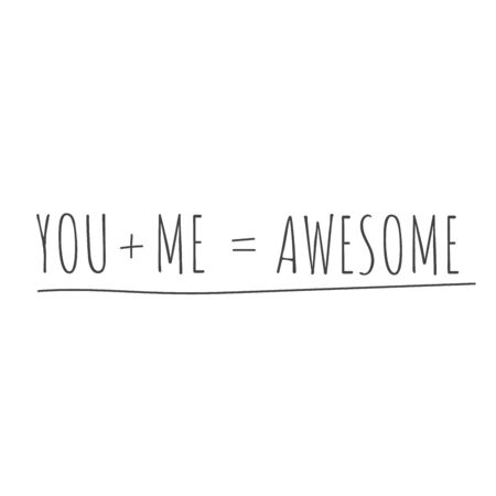 Tú más yo es igual a cartel de vector impresionante o letrero de camiseta. Tipografía de tarjeta de feliz día de San Valentín