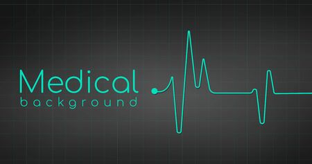 heartbeat ekg pulse tracing on black background, medical or health concept.