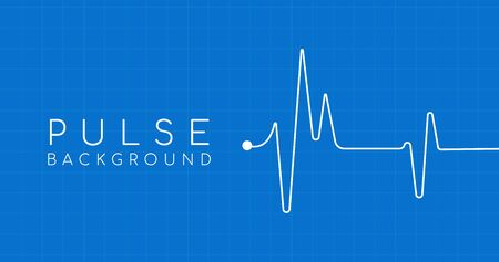 heartbeat ekg pulse tracing on blue background with square grid, medical or health concept. Illusztráció