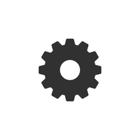Cog or gear Icon . Simple flat symbol. Perfect Black pictogram illustration