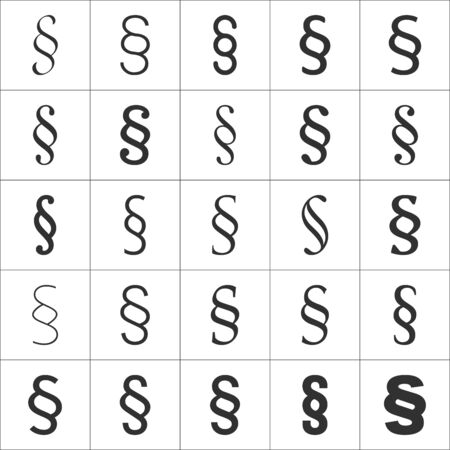 Grammar icon Section sign from my punctuation set. Typographical element isolated illustrator.