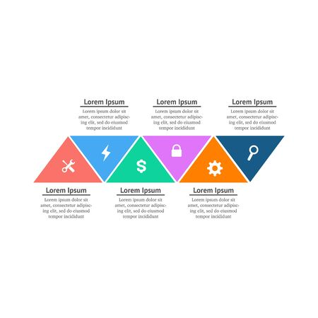 Abstract business infographics template with 6 triangles. Stock Vector illustration isolated Ilustracja