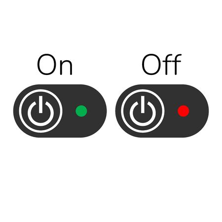 ON OFF Buttons or Switch with light indicator. Stock Vector illustration isolated