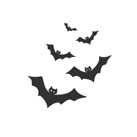 Swarm of flying bats. Stock Vector illustration isolated on white background. Ilustrace