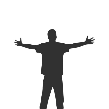 Men with wide open hands with palm extended silhouette. Stock Vector illustration isolated