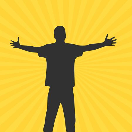 Men with wide open hands with palm extended silhouette. Stock Vector illustration isolated on yellow background. Vektorové ilustrace