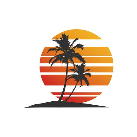 Tropical palm tree silhouette with sun rising. Stock Vector illustration isolated on white background. Illustration