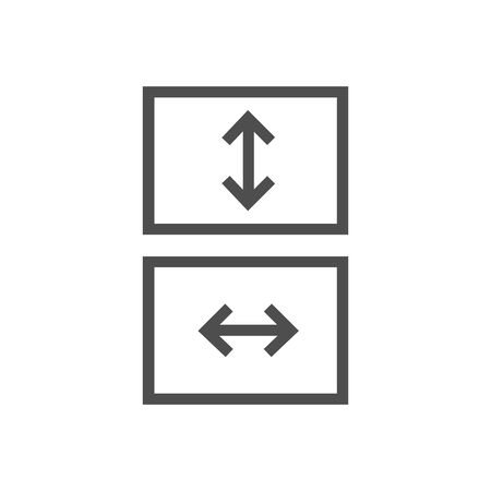 Fit to screen icon, box with arrows, full screen view icon. Stretch or shrink vertically or horizontally. Stock Vector illustration isolated Ilustração