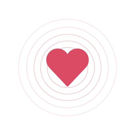 heart beat with circles in the bakground, love vibes. Stock Vector illustration isolated Illusztráció