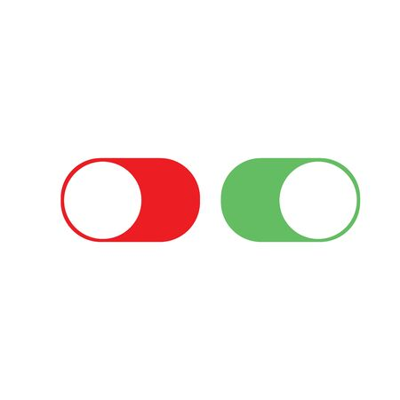Toggle Switch On and Off . Button good for phone interface. Stock Vector illustration isolated