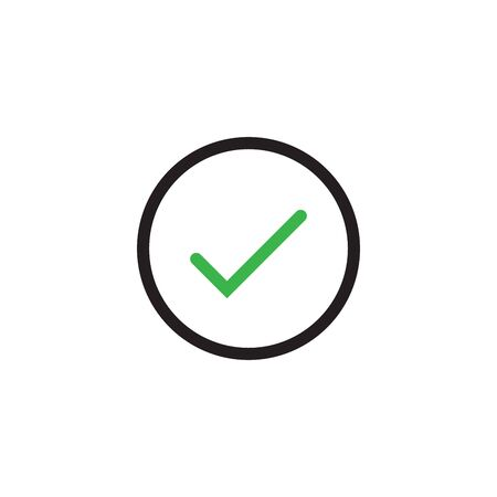 Accept icon in circle. Checkmark symbol, check mark icon, verifying concept, agree, agreement, approval symbol. Stock Vector illustration