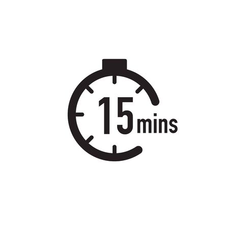 15 minutes timer, stopwatch or countdown icon. Time measure. Chronometr icon. Stock Vector illustration isolated Vektorové ilustrace