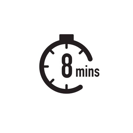 8 minutes timer, stopwatch or countdown icon. Time measure. Chronometr icon. Stock Vector illustration isolated