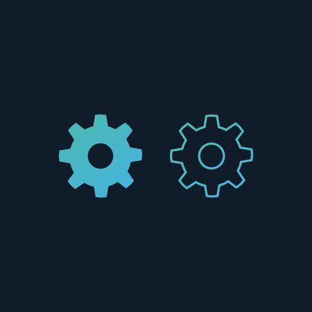 cogwheel mechanism icon. outline gear icon. mechanism concept. Stock Vector illustration isolated Ilustración de vector