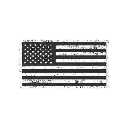 Vector grunge flag of United States of America the horizontal orientation. Stock Vector illustration isolated