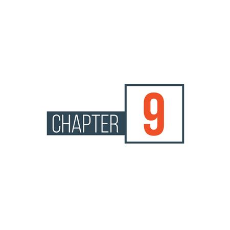 Chapter 9 design template, can be used for books design or tabs. Stock Vector illustration isolated