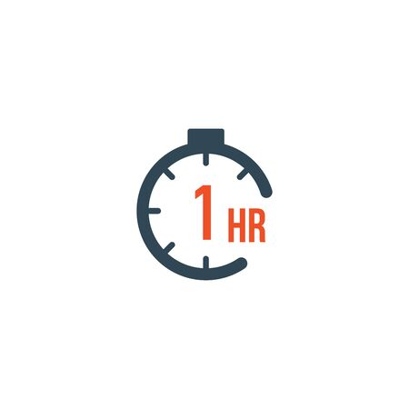 1 hour round timer or Countdown Timer icon. deadline concept. Delivery timer. Stock Vector illustration isolated