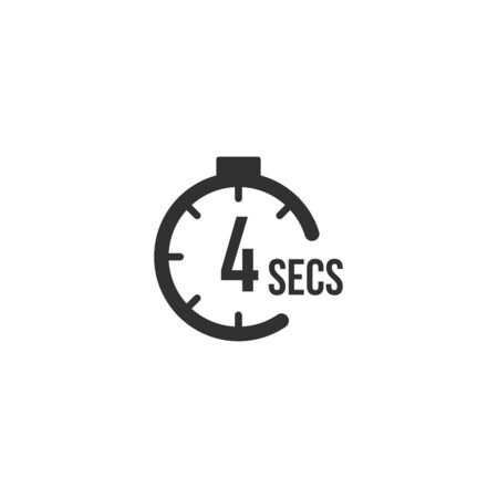 4 seconds Countdown Timer icon set. time interval icons. Stopwatch and time measurement. Stock Vector illustration isolated