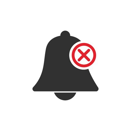 deactivated notifications bell icon. Not active alarm on your devices with cross on bell. Stock Vector illustration isolated