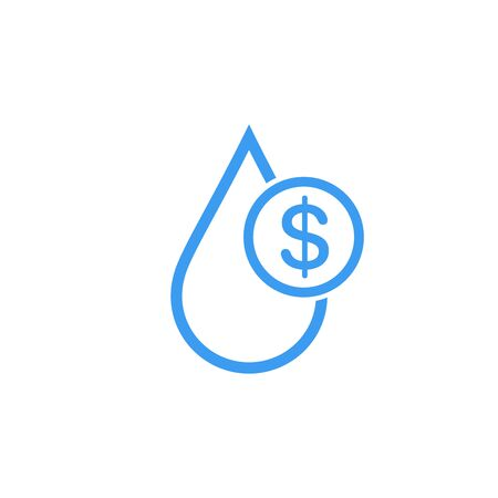 Water cost and save icon. Blue dollar symbol in water drop sign. Stock Vector illustration isolated